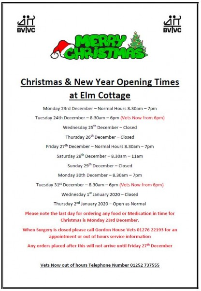 Christmas opening time Frimley Green